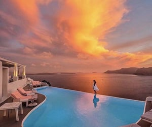 sunset, Greece, and pool image