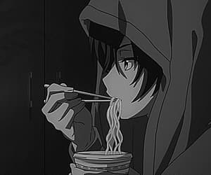 black and white, gif, and anime boy image