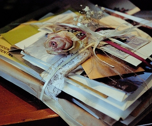envelopes, rose, and flowers image