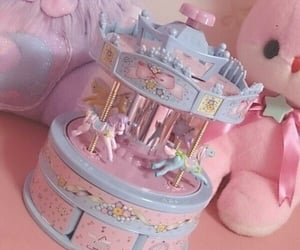 carousel, pink, and cute image
