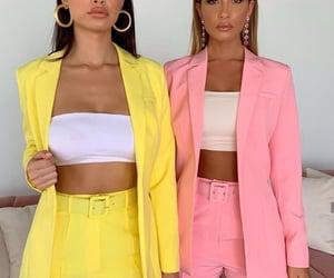 fashion, pink, and yellow image