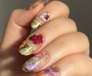 nails, flowers, and acrylic image