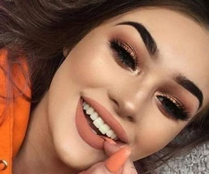 eyes make up, lipstick, and eyes brown image