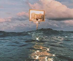 Basketball, ocean, and sky image