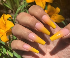 flowers, nails, and yellow image