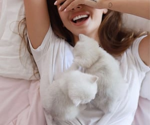 girl, cute, and cat image