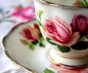 flowers, tea, and vintage image