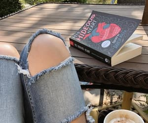 book, coffee, and girl image