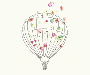 wallpaper, flowers, and balloon image