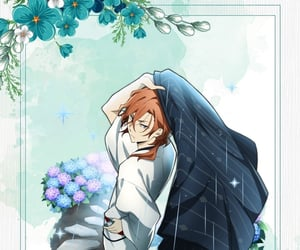 blue, flower, and kimono image