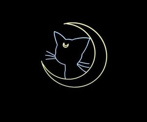 black, moon, and cat image