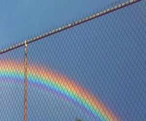 rainbow, sky, and blue image