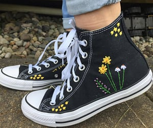 flowers, converse, and aesthetic image