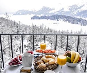 food, landscape, and snow image