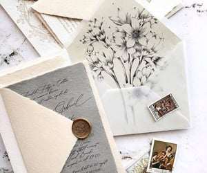 envelope, art, and flowers image