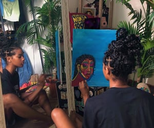 art, female, and painting image