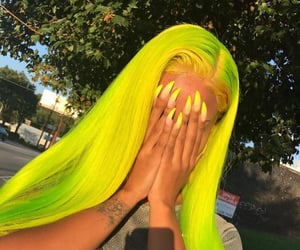 hair, nails, and neon image
