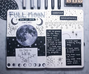 grey, moon, and bullet journal image