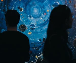 blue, couple, and space image