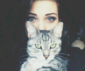 cat, eyes, and girl and cat image