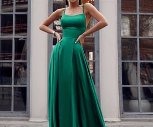 dress, elegant, and green image