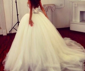 ball gown, lace, and wedding dress image