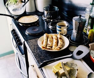 breakfast, kitchen, and pancakes image