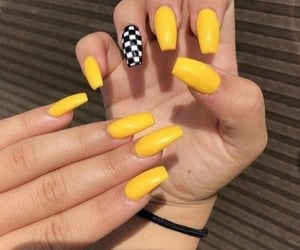 nails, pretty, and yellow image
