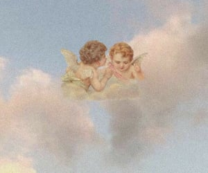 angel, aesthetic, and clouds image