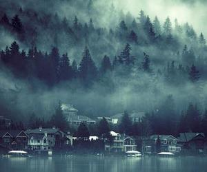 fog, house, and lake image