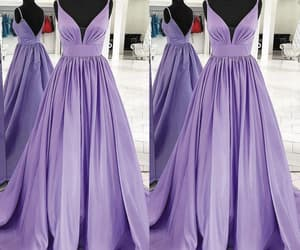 satin dress, prom gown, and purple prom dress image