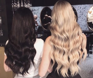 beauty, blonde, and brunette image