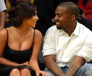 kim kardashian, kanye west, and love image