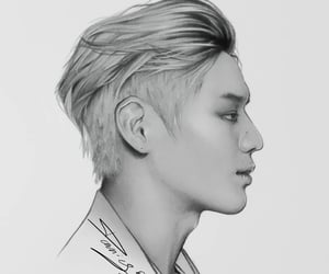 black-and-white, portrait, and kpop image