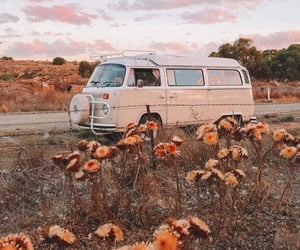 vintage, car, and flowers image