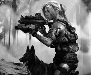 dog, soldier, and forest image