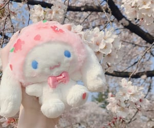 cherry blossom, cinnamoroll, and pink image