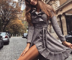 beauty, outfit, and grey dress image
