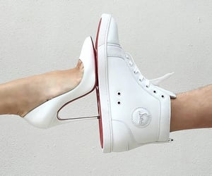 christian louboutin, white heels, and fashion image