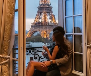 couple, paris, and love image