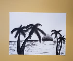 art, palm trees, and silhouette image