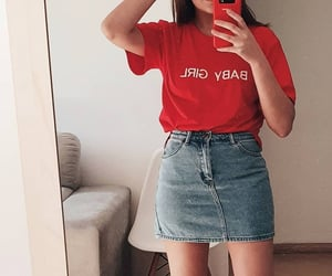 red fashion style, girl girly feminine, and aesthetic outfit tee image