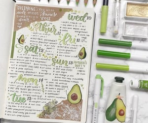 journaling, bullet journal, and avocado image
