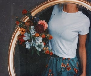flowers, girl, and vintage image