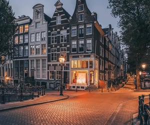amsterdam, citylights, and cityscape image