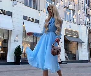 blonde, blue, and blue dress image