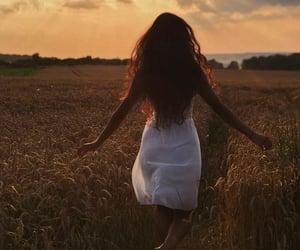 field, girl, and nature image