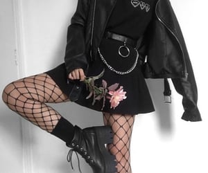 aesthetic, black, and fishnets image