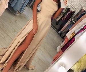 dress, nude dress, and nude look image
