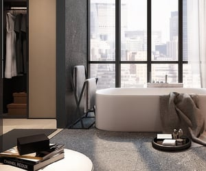 bathroom, city, and interior image